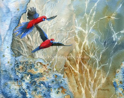 Flying Crimson Rosellas