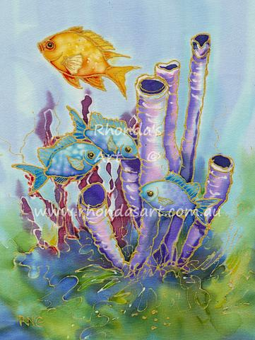 Purple Sponge with Small Fish