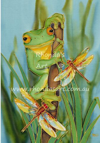Green Frog with Dragonflies