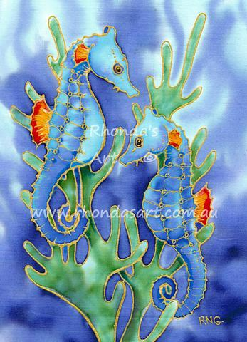 Seahorses with Green Seaweed